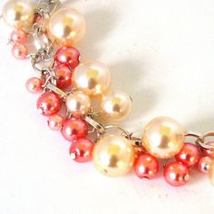 Pink and Cream Glass Pearl Charm Bracelet by Pookledo on Etsy, £15.00
