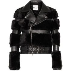 Noir Kei Ninomiya Faux fur and faux leather biker jacket (4.195 BRL) ❤ liked on Polyvore featuring outerwear, jackets, vegan biker jacket, vegan motorcycle jacket, faux-leather jackets, vegan leather moto jacket and vegan moto jacket