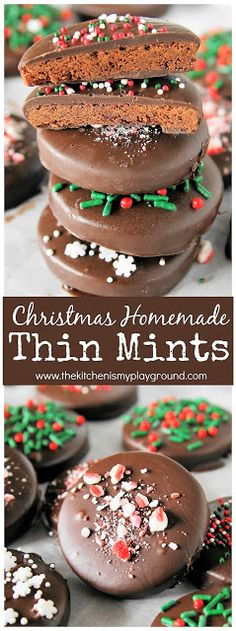 Christmas Homemade Thin Mints ~ Make your own copycat version of Thin Mints for the holiday season! Crushed candy canes & sprinkles make these extra festive. #thinmints #Christmas #Christmastreats #Christmascookies  www.thekitchenismyplayground.com