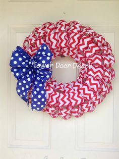 Red Chevron Wreath with Blue and White Polka Dot Bow, Patriotic Wreath, USA,  4th of July,  Red white and blue wreath on Etsy, $40.00