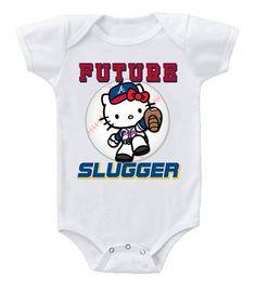 New Cute Funny Baby One Piece Bodysuit Baseball Future Slugger MLB Atlanta Braves #4