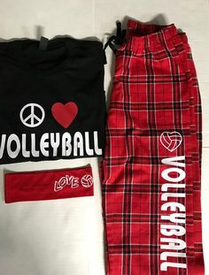 Volleyball Players love these jammie sets. Great gift for Valentines day. 100% cotton fleece pants are red and white plaid, with a cool T-shirt. A volleyball he