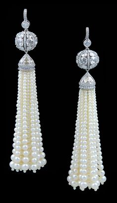 Platinum Rose  Full Cut Diamond  Pearl Tassle Earrings#Repin By:Pinterest++ for iPad#