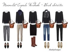 """Minimalist Wardrobe - Black Sweater"" by bluehydrangea ❤ liked on Polyvore featuring Madewell, MANGO, Gap, J.Crew, Siviglia, Adrienne Vittadini, H&M, Cole Haan, Coach and Just Female"