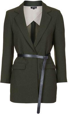 Womens dark khaki knot belt blazer - khaki, khaki from Topshop - £68 at ClothingByColour.com