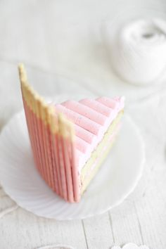 Sprinkle Bakes: Pink Vanilla Pocky Cake    piped lines on the top of the cake!