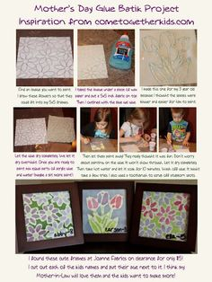painted glue pictures- mother's day.