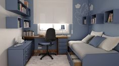 Teenage Bedroom Design with Blue Themes Decoration