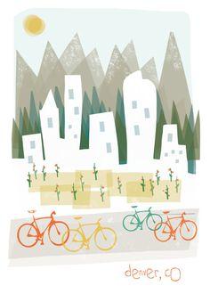 Denver art print illustration - 11x14 - mountain city buildings poster wall decor. $20.00, via Etsy.