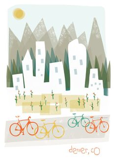 Denver art print illustration - 11x14 - mountain city buildings poster wall decor. $20.00, via Etsy.