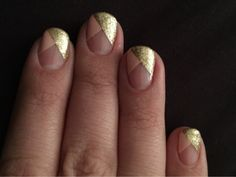 gel mani with gel extensions. Gold and pink over clear.