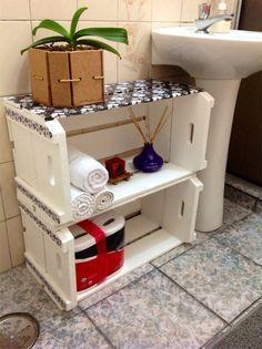 Decoração de banheiro com caixotes                                                                                                                                                                                 Mais
