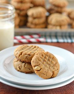 Healthy Peanut Butter Cookies. Soft, chewy, and NO butter (recipe uses lots of peanut butter instead!)