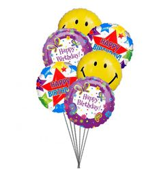 Happy Birthday Wishes With Colorful Birth Day Balloons And Smiley Order Send