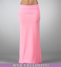 Neon Pink Maxi Skirt - cute, and affordable! cute and gorgeous love the color would cut some off the bottom to show some tanned leggs