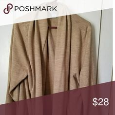 Sag Harbor cardigan Camel/tan color long-sleeve flyaway cardigan sweater.  New condition.  Worn 1-3 times casual use. Acrylic blend.    Very soft and warm!!  Retook photo  to show here with Catherine's short sleeve white t-shirt (sold separate) to better show detail. Sag Harbor Sweaters Cardigans