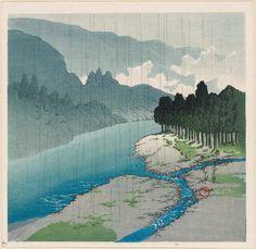 Rain at Okutama River - 1930Kawase Hasui