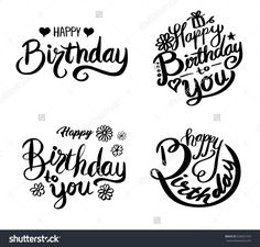 Happy Birthday set. Beautiful greeting card poster with calligraphy. Hand drawn design elements. Handwritten modern brush lettering on a white background isolated vector