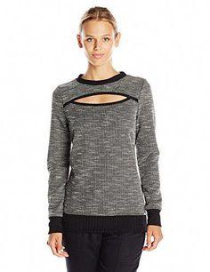23d7b5c15f1 KORAL ACTIVEWEAR Women's Breach Open Front Sweater, Slub/Black, S  #womensfashionhipstercardigans
