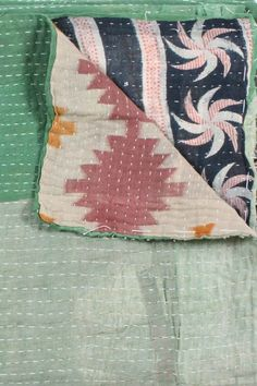 One of a Kind Kantha Embroidered Throw--_I want new blankets!