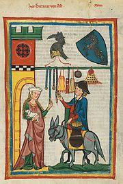 Codex Manesse — Planche 64r : Le seigneur Dietmar von Aist (de), avec une mule…