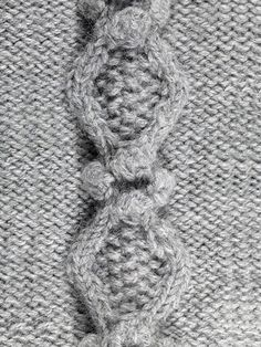 HOLLOW OAK CABLE  As used in our BOBBLE LEGWARMERS this more advanced cable (sometimes called 'sands through the hourglass' cable) uses a combination of cables, MOSS STITCH and BOBBLES to great effect.