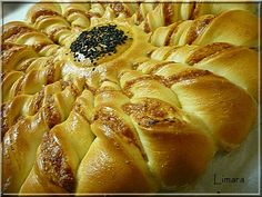 """Pastry """"sunflower"""" filled with seasoned ham & cheese. Ham And Cheese, Hot Dog Buns, Apple Pie, Cake Recipes, Bakery, Lime, Rolls, Favorite Recipes, Snacks"""