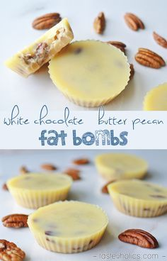 White chocolate meet butter pecan in this delicious fat bomb recipe. of fat and less than 1 carb in each one! One of our favorite keto low carb high fat treats. More recipes like this atWhite chocolate meet butter pecan in this delicious fat bomb recip Fat Bombs Low Carb, Low Carb High Fat, Best Fat Bombs, Chocolate Butter, Butter Pecan, Peanut Butter, Cocoa Butter, Sugar Free White Chocolate, Almond Butter Fat Bombs
