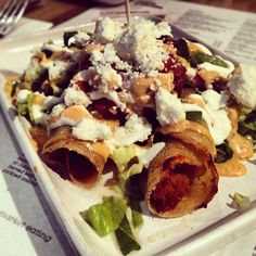Day #328 - crunchy sweet potato & feta tacquitos with spicy chipotle mayo @wahaca