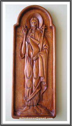 Ikona u duborezu-Sveti Jovan-Wood carving icon