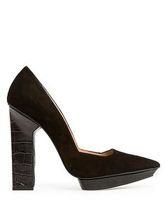 25773830d1a Architecture meets fashion in Mago s combi suede black stiletto shoes. A  thing of beauty.