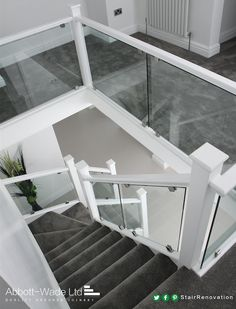 Dazzling white staircase with clamped glass - Sale! Shop at Stylizio for womens and mens designer handbags luxury sunglasses watches jewelry purses wallets clothes underwear White Staircase, House Staircase, Staircase Railings, Modern Staircase, Banisters, Staircase Design, Staircase Ideas, Banister Ideas, Staircases