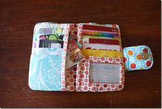 I've been into PDF's lately.  I like 'em.  I do like paper versions best, so I print out all my PDF's and keep them in a file- it works great   My latest is a fabric wallet from M.o.M (Mother of Marine).  It is pretty dang awesome.This project is super colorful, thanks to a swim I took in my scrap bin!  The pattern only calls for three fat quarters and different interfacings, but I decided to take it a step or 7 more and use up some [...]
