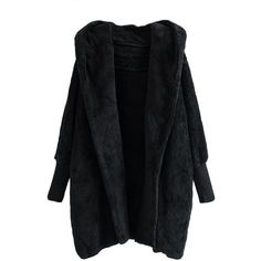 Black Warm Ladies Hooded Long Sleeve Cardigan Wool Coat (160 ILS) ❤ liked on Polyvore featuring outerwear, coats, jackets, tops, black, hooded coat, woolen coat, long sleeve coat, wool coats and hooded wool coats