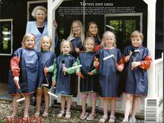 Princess Beatrix with all of her grandchildren   First row:Princesses Alexia and Ariane, Countesses Zaria, Leonore and Luana and Count Claus-Casimir  Second row: Crown Princess Amalia and Countess Leonore.