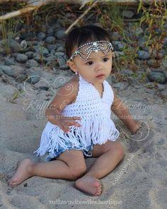 PRE ORDER - Boho High Low Fringe Baby Bikini Crochet Top - Baby Halter Top - Fringe Halter Top - Baby Crochet Top