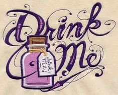 Drink Me Alice in Wonderland Embroidered Flour Sack Hand/Dish Towel by EmbroideryEverywhere on Etsy Lewis Carroll, Urban Threads, Drink Me, Drink Tags, Alice In Wonderland Party, Towel Set, Machine Embroidery, Embroidery Files, Hand Embroidery