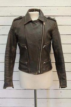 brown vintage biker jacket