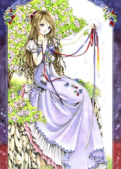 Ribbon princess with long light brown hair, violet eyes, long purple dress, & rainbow ribbons by manga artist Shiitake.