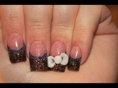 Purple & Brown Acrylic Nails with 3D Bow