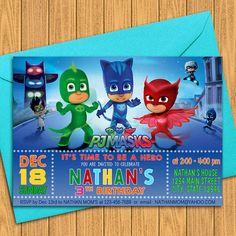 PJ Masks Invitations PJ Masks Birthday Party by GAFAdesigns
