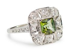 Cleopatra's Favorite: Peridot Diamond Dinner Ring