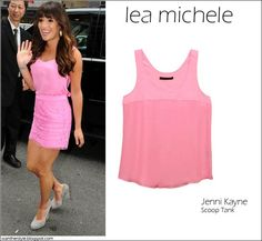 WHAT SHE WORE: Lea Michele in Jenni Kayne pink scoop tank | I want her style #fashion #pink #style #lea michele #streetstyle