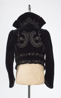 1800s Victorian Silk Velvet Cropped Jacket with Soutache and Steel Cut – Bygones
