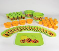 Kids\u0027 Halloween 55 piece orange and green party kit featuring reusable plastic pumpkin cups plastic plates large serving bowls small treat servers ...  sc 1 st  Pinterest & Sophisticated #Halloween Party or Gothic-Inspired Dinner. Layer ...