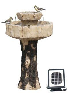 """Alpine Solar Fountain/Birdbath, 27"""" Height - Tan/Brown"""