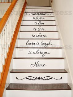 Home is where you - INCLUDES scroll decals - PLUS FREE test decal - staircase - Wall Decal Vinyl Decal Inspirational Home Decor