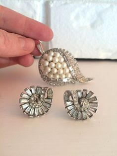 1950s Vintage Earring and Brooch Set | Vintage Art Deco Earrings and Pearl Brooch  by TheFrenchSeventyFive