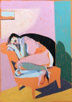 'Nude on orange with window', pastel, 42 x SOLD Painting Inspiration, Art Inspo, Illustration Art, Illustrations, Feminist Art, Feminist Quotes, Guache, Expressive Art, Aesthetic Art