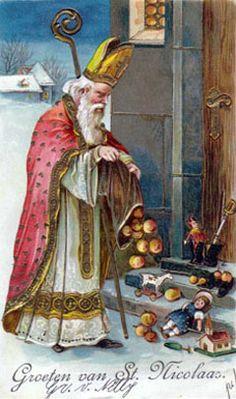 Sinterklaas is Santa Claus in the Netherlands. Noel Christmas, Victorian Christmas, Father Christmas, Vintage Christmas Cards, Christmas Pictures, Vintage Cards, Winter Christmas, Primitive Christmas, Retro Christmas